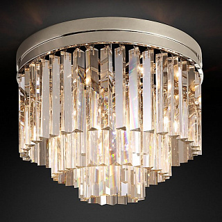 1920s Odeon Clear Glass Fringe 3-Tier Polished Nickel