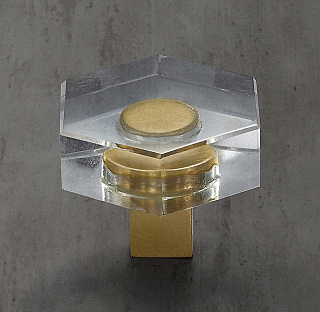 Lambeth Crystal Hexagonal Brass